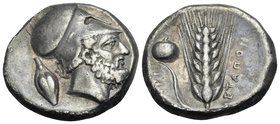 LUCANIA. Metapontum. Circa 400-340 BC. Didrachm or nomos (Silver, 20.5 mm, 7.77 g, 7 h). ΛEYKIΠΠOΣ Bearded head of Leukippos to right, wearing Corinth...
