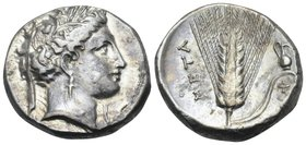LUCANIA. Metapontum. Circa 340-330 BC. Nomos or Didrachm (Silver, 19.5 mm, 7.82 g, 4 h). Head of Demeter to right, wearing barley wreath, triple-penda...