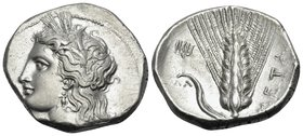 LUCANIA. Metapontum. Circa 330-290 BC. Didrachm or nomos (Silver, 21 mm, 7.83 g, 10 h). Head of Demeter to left, wearing grain wreath, triple-pendant ...
