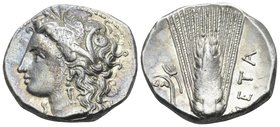 LUCANIA. Metapontum. Circa 330-290 BC. Didrachm or nomos (Silver, 20.5 mm, 7.88 g, 6 h). Head of Demeter to left, wearing grain wreath, triple-pendant...