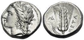 LUCANIA. Metapontum. Circa 330-290 BC. Didrachm or nomos (Silver, 19.5 mm, 7.90 g, 3 h), Ly... Head of Demeter to left, wearing grain wreath, triple-p...