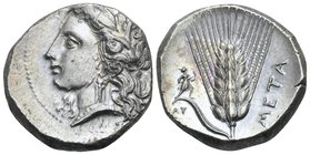 LUCANIA. Metapontum. Circa 330-290 BC. Nomos or Didrachm (Silver, 20 mm, 7.94 g, 1 h), Ly.... Head of Demeter to left, wearing grain wreath, triple-pe...