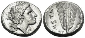 LUCANIA. Metapontum. Circa 330-290 BC. Didrachm or nomos (Silver, 19.5 mm, 7.95 g, 11 h). Head of Demeter to right, wearing pendant earring and a grai...
