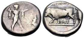 LUCANIA. Poseidonia. Circa 410-350 BC. Nomos (Silver, 18.5 mm, 7.40 g, 11 h). [ΠΟΣΕΙΔΩΝ] Poseidon striding to right, brandishing trident and with chla...