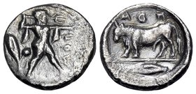 LUCANIA. Poseidonia. Circa 445-420 BC. Diobol (Silver, 12 mm, 1.26 g, 2 h). ΠOΣ Poseidon striding to right, brandishing trident; to left, olive branch...