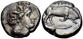 LUCANIA. Thourioi. Circa 400-350 BC. Distater (Silver, 25 mm, 15.54 g, 5 h), c. 360. Head of Athena to right, wearing an Attic helmet adorned with Sky...