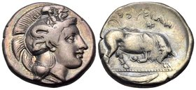 LUCANIA. Thourioi. Circa 400-350 BC. Stater (Silver, 22 mm, 7.82 g, 5 h). Head of Athena to right, wearing helmet adorned with Skylla holding oar(?). ...