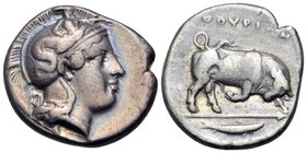 LUCANIA. Thourioi. Circa 400-350 BC. Stater (Silver, 21.5 mm, 7.80 g, 7 h). Head of Athena to right, wearing helmet adorned with Skylla holding oar(?)...
