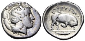 LUCANIA. Thourioi. Circa 400-350 BC. Stater (Silver, 23 mm, 7.58 g, 10 h). Head of Athena to right, wearing helmet adorned with Skylla holding oar(?) ...