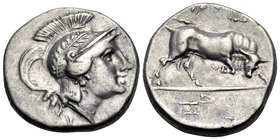 LUCANIA. Thourioi. Circa 280-213 BC. Stater (Silver, 20 mm, 6.45 g, 2 h), reduced standard. Head of Athena to right, wearing crested and laureate Atti...