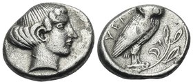 "LUCANIA. Velia. Circa 465-440 BC. Drachm (Silver, 16 mm, 3.85 g, 7 h), dies prepared by the ""E master"". Head of a nymph to right, with curly hair conf..."