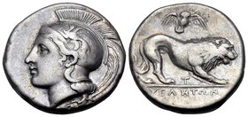 "LUCANIA. Velia. Circa 400-340 BC. Didrachm or nomos (Silver, 20.5 mm, 7.23 g, 10 h), from the ""T"" group. Head of Athena to left, wearing crested Attic..."