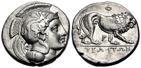 "LUCANIA. Velia. Circa 340-334 BC. Didrachm or nomos (Silver, 20.5 mm, 7.44 g, 11 h), from the ""Θ"" group. Head of Athena to left, wearing crested Attic..."