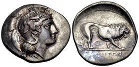 "LUCANIA. Velia. Circa 340-334 BC. Didrachm or nomos (Silver, 23 mm, 7.50 g, 3 h), from the ""Θ"" group. Head of Athena to left, wearing crested Attic he..."