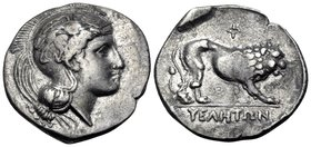 "LUCANIA. Velia. Circa 340-334 BC. Didrachm or nomos (Silver, 22.5 mm, 7.55 g, 7 h), from the ""Θ"" group. Head of Athena to right, wearing crested Attic..."