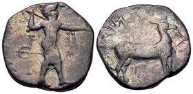 BRUTTIUM. Kaulonia. Circa 400-389/8 BC. Stater (Silver, 21 mm, 7.73 g, 1 h). Apollo standing to right; behind, bird trap. Rev. ΚΑΥΛΩΝΙΑΤΑΣ (retrograde...