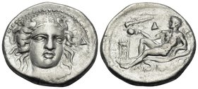 BRUTTIUM. Kroton. Circa 400-325 BC. Didrachm or nomos (Silver, 21.5 mm, 7.63 g, 7 h). Head of Hera Lakinia three-quarters facing, turned slightly to t...