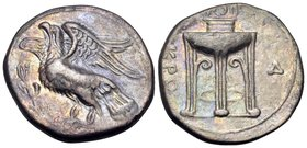 BRUTTIUM. Kroton. Circa 350-300 BC. Nomos (Silver, 22 mm, 6.73 g, 7 h). Eagle with spread wings, standing left on olive branch. Rev. KPO Tripod; to ri...