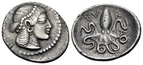 SICILY. Syracuse. Deinomenid Tyranny, 485-466 BC. Litra (Silver, 12.5 mm, 0.79 g, 5 h), circa 470-466. Pearl-diademed head of Arethusa to right, her h...