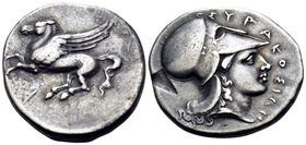 SICILY. Syracuse. Timoleon and the Third Democracy, 344-317 BC. Stater (Silver, 23 mm, 8.41 g, 2 h). Pegasos flying to left. Rev. ΣYPAKOΣIΩN Head of A...