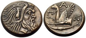 CIMMERIAN BOSPOROS. Pantikapaion. Circa 310-304/3 BC. Multiple chalkous (Bronze, 21 mm, 7.45 g, 12 h). Bearded head of Pan to right. Rev. Π - Α - Ν Fo...