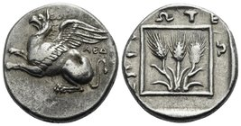 THRACE. Abdera. Circa 411/10 - 386/5 BC. Tetrobol (Silver, 15 mm, 2.89 g, 12 h), Protes, magistrate. ABΔ Griffin springing to left. Rev. EΠI ΠPΩTEΩ ar...