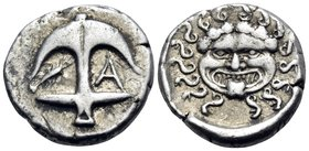 THRACE. Apollonia Pontika. Circa 480/78-450 BC. Drachm (Silver, 15 mm, 3.34 g, 5 h). Facing gorgoneion. Rev. Upright anchor; crayfish to left, A to ri...
