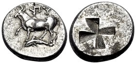 THRACE. Byzantion. Circa 340-320 BC. Drachm or siglos (Silver, 17 mm, 5.34 g). YΠY Heifer standing left on dolphin left with front left leg raised; be...