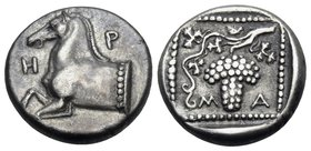 THRACE. Maroneia. Circa 398/7-348/7 BC. Triobol (Silver, 14 mm, 2.88 g, 4 h). H-P Forepart of a horse to left. Rev. Μ-Α Grape cluster on a vine within...