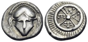 THRACE. Mesambria. 4th century BC. Diobol (Silver, 11 mm, 1.18 g). Facing Corinthian helmet. Rev. META within four-spoked wheel. Karayotov I 39–140. S...