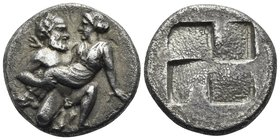 ISLANDS OFF THRACE, Thasos. Circa 412-404 BC. Drachm (Silver, 15 mm, 3.36 g). Elderly ithyphallic satyr advancing to right, carrying protesting nymph....