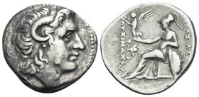 KINGS OF THRACE. Lysimachos, 305-281 BC. Drachm (Silver, 19 mm, 4.18 g, 11 h), Ephesos, circa 294-287. Head of the deified Alexander to right, horn of...