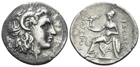 KINGS OF THRACE. Lysimachos, 305-281 BC. Drachm (Silver, 19 mm, 4.21 g, 3 h), Ephesos, circa 294-287. Diademed head of the deified Alexander the Great...