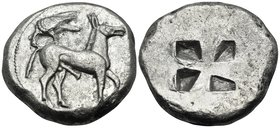 MACEDON. Mende. Circa 510-480 BC. Tetradrachm (Silver, 25 mm, 16.88 g), c. 500. Ithyphallic ass walking to right, with a crow perching left on its bac...