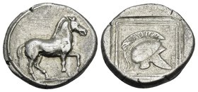 KINGS OF MACEDON. Perdikkas II, 451-413 BC. Tetrobol (Silver, 14 mm, 2.07 g, 3 h), Light standard, Aigai, c. 420-413. Horse walking slowly to right. R...