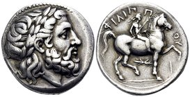 KINGS OF MACEDON. Philip II, 359-336 BC. Tetradrachm (Silver, 26.5 mm, 14.23 g, 6 h), struck posthoumously under Philip III Arhidaios, Pella, c. 323-3...