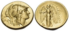 KINGS OF MACEDON. Alexander III 'the Great', 336-323 BC. Stater (Gold, 20 mm, 8.56 g, 1 h), Salamis, 332-323. Head of Athena to right, wearing Corinth...