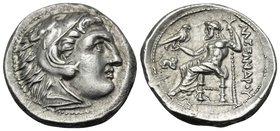 KINGS OF MACEDON. Alexander III 'the Great', 336-323 BC. Drachm (Silver, 17 mm, 4.30 g, 2 h), struck under Antigonos I Monophthalmos, Lampsakos, c. 32...
