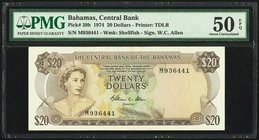 Bahamas Central Bank 20 Dollars 1974 Pick 39b PMG About Uncirculated 50 EPQ.   HID09801242017