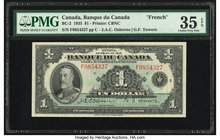 Canada Banque du Canada $1 1935 BC-2 PMG Choice Very Fine 35 EPQ. French.  HID09801242017