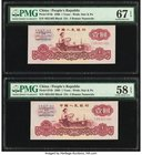 China People's Bank of China 1 Yuan 1960 Pick 874b Two Examples PMG Superb Gem Unc 67 EPQ; Choice About Unc 58 EPQ.   HID09801242017