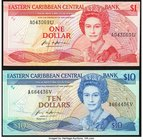 East Caribbean States Central Bank 1 Dollar ND (1988-89) Pick 21u; 10 Dollars ND (1985-93) Pick 23v Choice Crisp Uncirculated.   HID09801242017