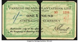 Fanning Island Fanning Island Plantation £1 ND (1942) Schwan-Boling 1541b Fine. Note cut in half and corners clipped off.  HID09801242017