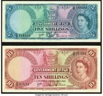 Fiji Government of Fiji 5; 10 Shillings 1.12.1962 Pick 51c; 52c Very Fine.   HID09801242017