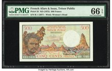 French Afars & Issas Tresor Public 500 Francs ND (1975) Pick 33 PMG Gem Uncirculated 66 EPQ.   HID09801242017