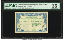 French Oceania Bons de Caisse 2 Francs 26.9.1943 Pick 12c PMG Choice Very Fine 35.   HID09801242017
