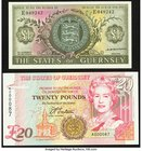 Guernsey States of Guernsey 1 Pound ND (1969-75) Pick 45b; 20 Pounds ND (1996) Pick 58a Crisp Uncirculated.   HID09801242017