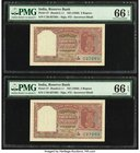 India Reserve Bank of India 2 Rupees ND (1950) Pick 27 Jhun6.2.1.1 Two Examples PMG Gem Uncirculated 66 EPQ. Staple holes at issue.  HID09801242017