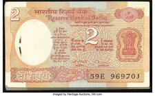 India Reserve Bank of India 2 Rupees ND (1976) Pick 79d Jhun6.2.10.3B, Original Pack of 100 Crisp Uncirculated. Stapled as issued.  HID09801242017