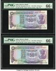 India Reserve Bank of India 50 Rupees ND (1975) Pick 83d Jhun6.6.1.4A Two Examples PMG Gem Uncirculated 66 EPQ. Staple holes at issue.  HID09801242017